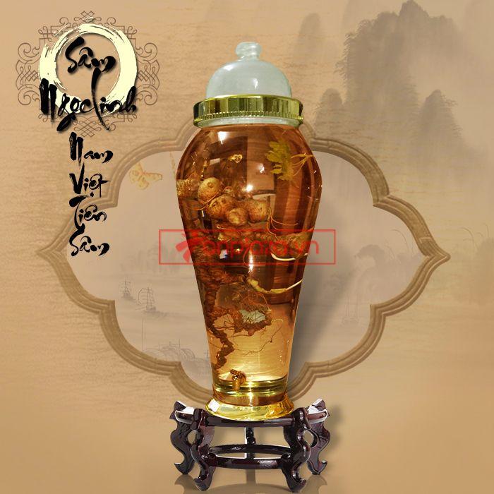 Bình ngâm sâm Ngọc Linh tươi phong thủy loại 2kg/củ