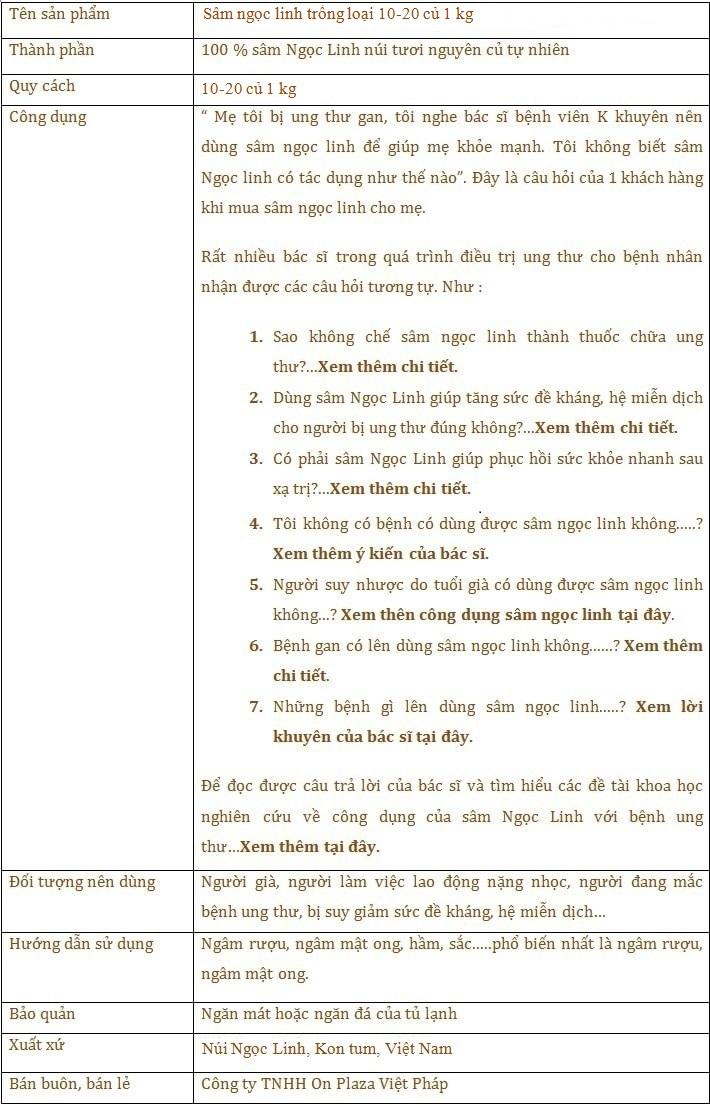 ttsp  Sâm ngọc linh trồng loại 10-20 củ 1 kg