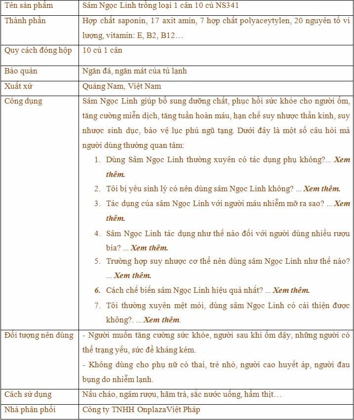 thành phần và công dụng của sâm ngọc linh trồng 10 củ  1 can NS341