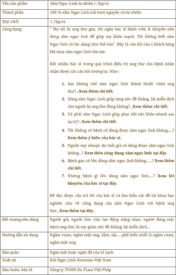 ttsp Sâm Ngọc Linh tự nhiên 1.5kg/củ